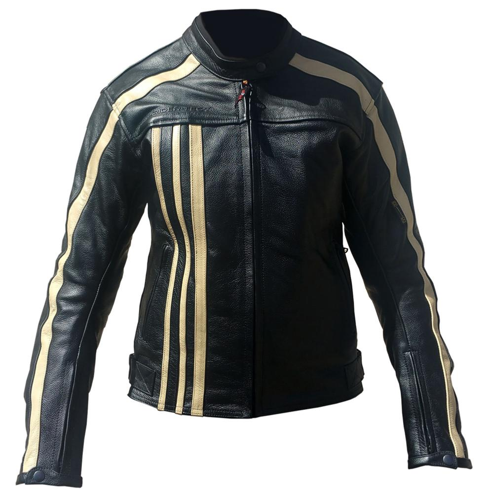 equipement du pilote blouson moto cuir femme rider tec vintage noir beige taille l. Black Bedroom Furniture Sets. Home Design Ideas