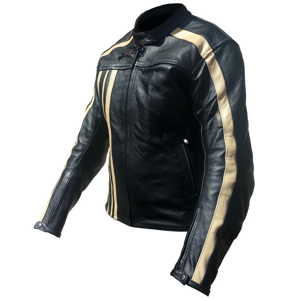 equipement du pilote blouson moto cuir femme rider tec vintage noir beige taille l. Black Bedroom Furniture Sets. Home Design Ideas